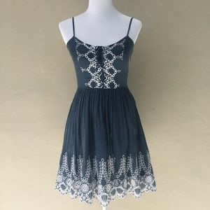 GUESS Dark Denim Blue Dress w/ White Embroidery
